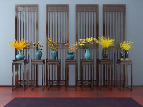 新中式花瓶花架黄花组合3D模型【ID:327785886】
