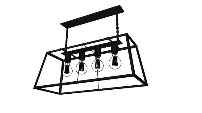Looptl玻璃灯箱吊灯+爱迪生灯泡SU模型【ID:537609402】