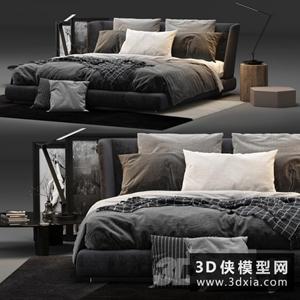 現代風格床模型組合國外3D模型【ID:729324931】