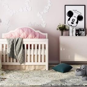北欧婴儿床3D模型【ID:628052995】