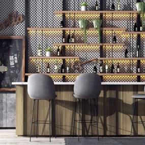 工业复古吧台吧椅组合3D模型【ID:328241186】
