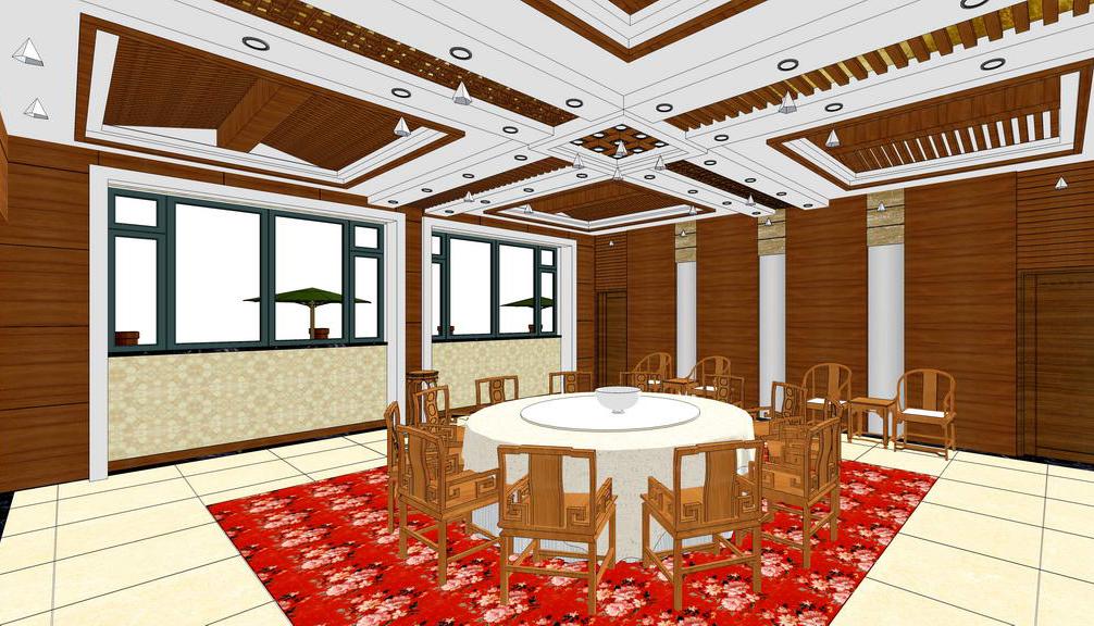 中式包房室內設計SU模型【ID:636359083】