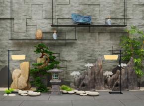 中式假山松树摆件户外灯落地灯景观小品3D模型【ID:127750896】