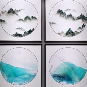 新中式山水挂画3d模型【ID:128412065】