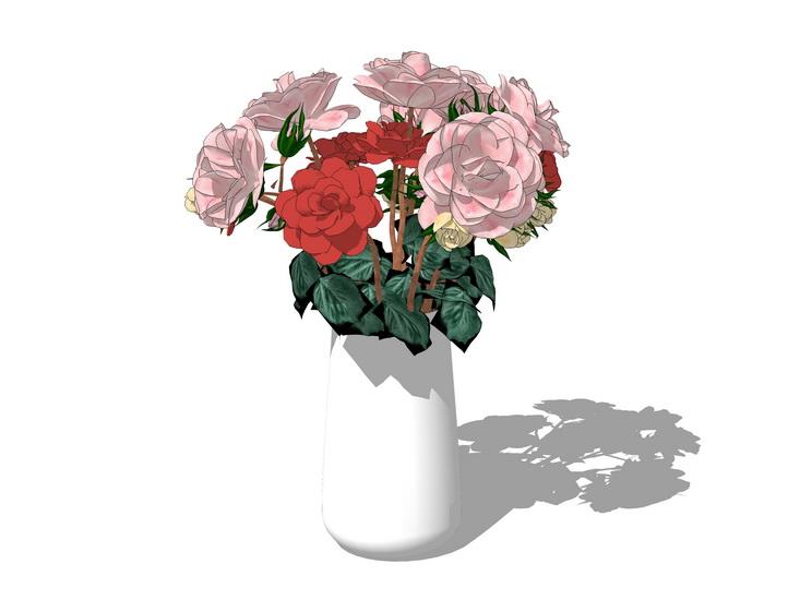 花瓶插花摆件SU模型【ID:936360605】
