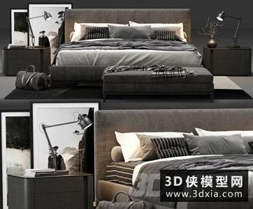 现代风格布艺床国外3D模型【ID:729331997】