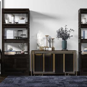 新中式实木装饰柜边柜3d模型【ID:143349083】