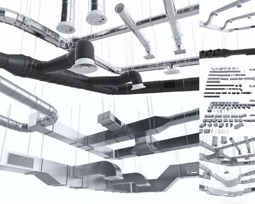 现代管道3D模型【ID:726226596】