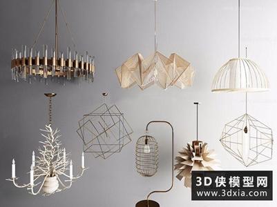 現代吊燈組合國外3D模型【ID:829344738】