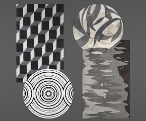 现代地毯组合3D模型【ID:427795025】