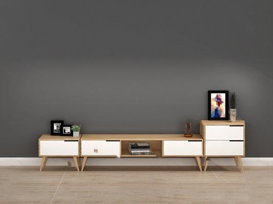 北欧电视柜3D模型【ID:920614046】