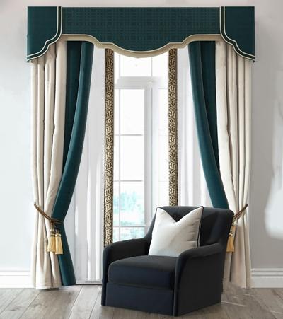 新古典奢华窗帘单人沙发组合3D模型【ID:328252858】