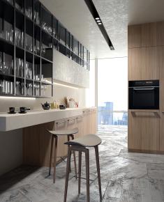 現代吧臺吧臺椅櫥柜組合3D模型【ID:627805310】