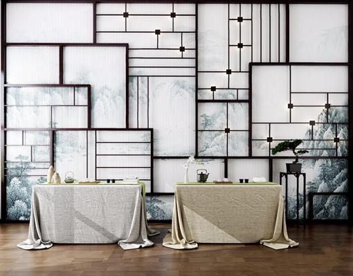 新中式茶桌椅屏风3D模型【ID:328246452】