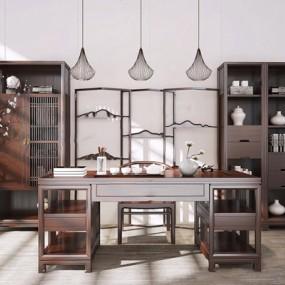 新中式书柜桌椅组合3D模型【ID:327925693】