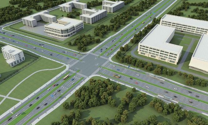 现代道路3D模型【ID:324885593】