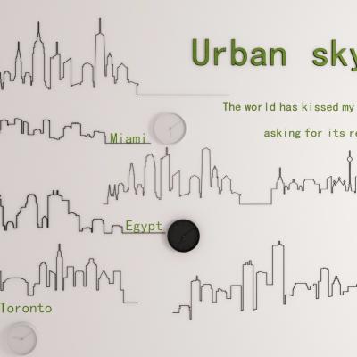 北欧城市天际线墙饰挂件3D模型【ID:227783212】
