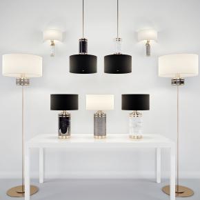 现代台灯吊灯壁灯组合3D模型【ID:627805139】