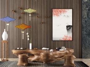 新中式实木泡茶桌椅角几摆件组合3D模型【ID:327787651】