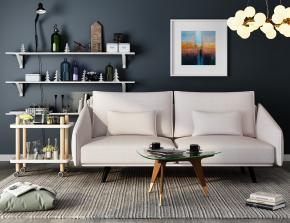 现代布艺双人沙发茶几装饰架摆件吊灯组合3D模型【ID:927828752】