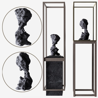 新中式石雕擺件組合3D模型【ID:327794844】