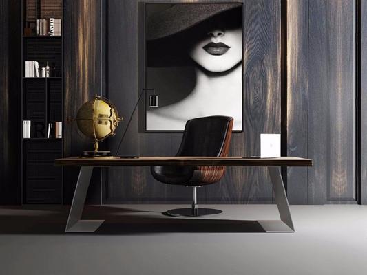 現代實木金屬辦公桌3D模型【ID:328250742】