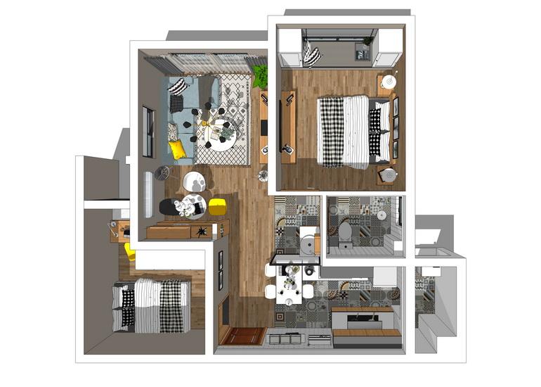 北歐風格兩房兩廳室內設計SU模型【ID:936360869】