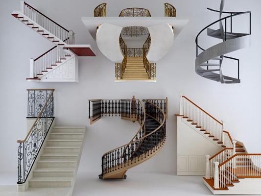 簡歐樓梯3D模型【ID:928163201】