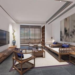新中式酒店接待区3D模型【ID:528037283】