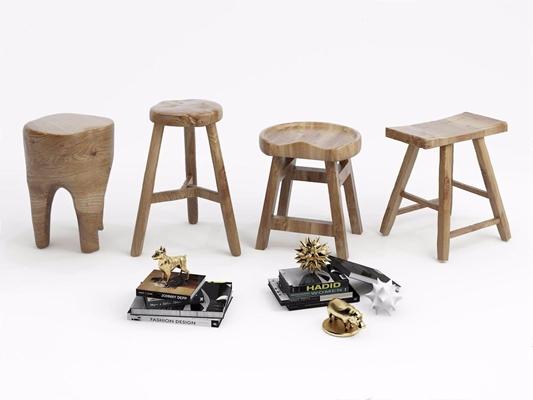 木矮凳组合3D模型【ID:427984332】