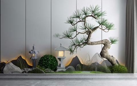新中式松树枯山水石景观小品3D模型【ID:131391847】