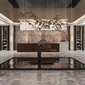 新中式售楼大厅3D模型【ID:427795554】
