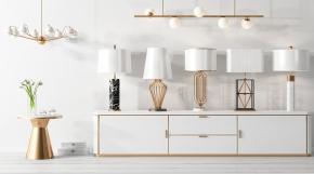 現代實木電視柜臺燈吊燈組合3D模型【ID:627804179】