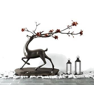 新中式玄關鹿擺設3D模型【ID:928356198】