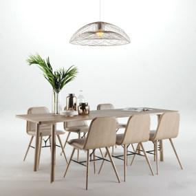 北歐餐桌椅組合3d模型【ID:843093853】