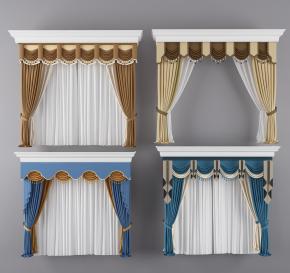 歐式布藝窗簾組合3D模型【ID:327785842】