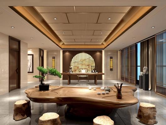 新中式茶室3D模型【ID:327919703】