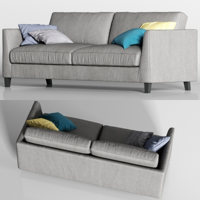 現代灰色布藝雙人沙發枕頭組合3D模型【ID:927837770】