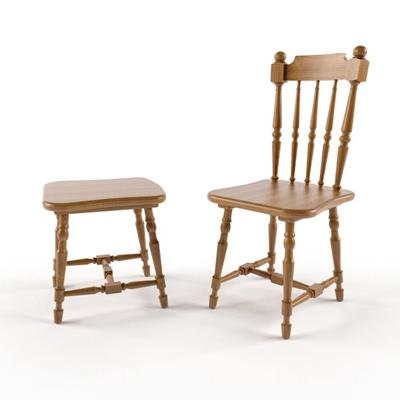 英式田園原木色木藝餐椅3D模型【ID:314917023】