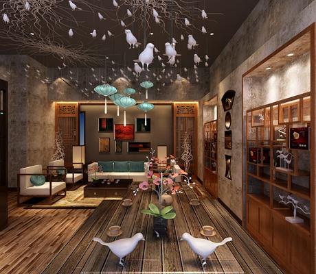 新中式茶室3D模型【ID:314926799】