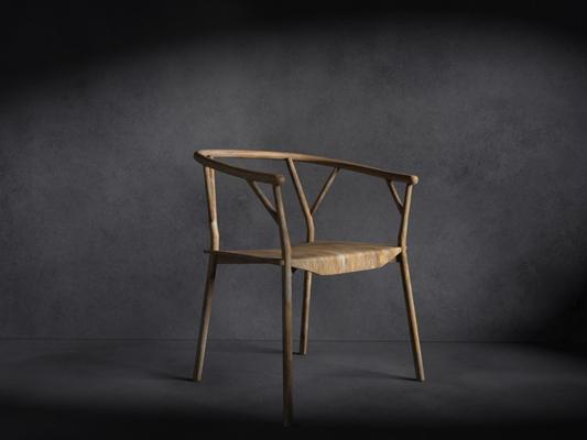 新中式原木色木艺扶手椅3D模型【ID:314934483】