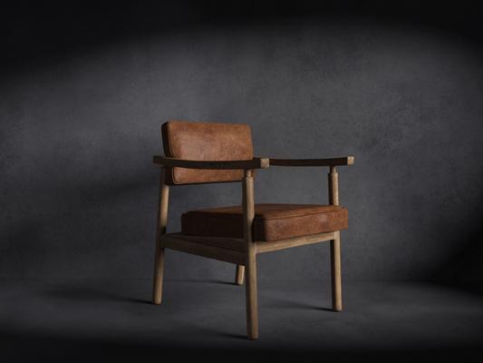 美式简约棕色皮质扶手椅3D模型【ID:314934488】