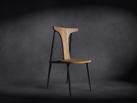 现代铁艺餐椅3D模型【ID:314935000】