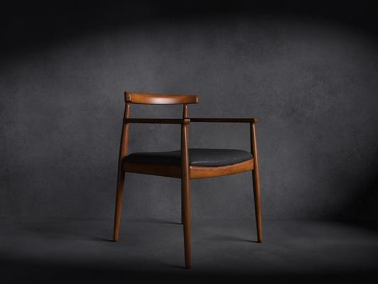 现代木艺扶手椅3D模型【ID:314935407】