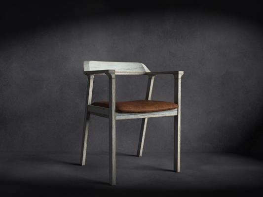 现代蓝色木艺扶手椅3D模型【ID:314935424】