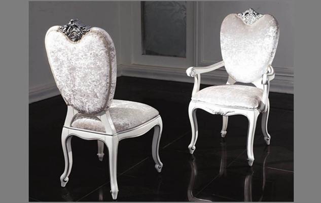 欧式新古典粉色布艺餐椅3D模型【ID:314936066】
