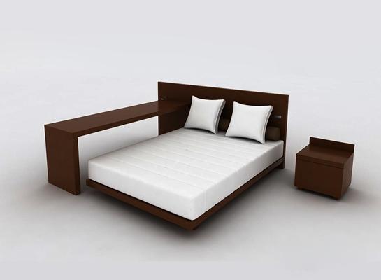 现代原木色木艺床具组合3D模型【ID:314952506】