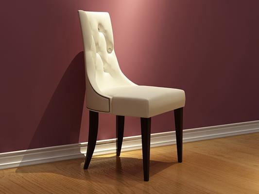 欧式简约米色布艺餐椅3D模型【ID:314953032】