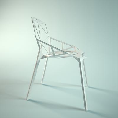 现代白色铁艺餐椅3D模型【ID:314955081】