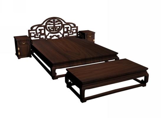 传统中式原木色木艺床具组合3D模型【ID:314972560】